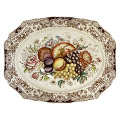 English Transferware Large Platter, Harvest Fruit Pattern by Johnson Brothers