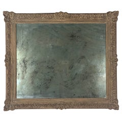 French Carved Wood and Gesso Mirror W/ Antiqued Mirror