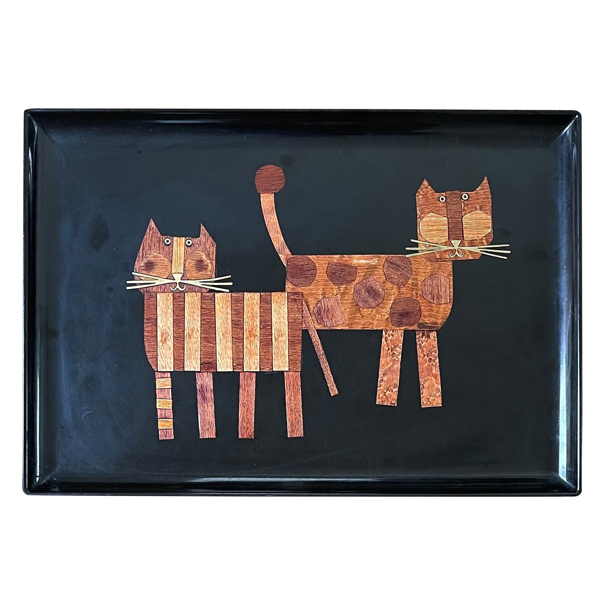 Inlaid Wood Cats Tray by Couroc California