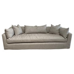 Linen Slip Covered Sofa with Down Cushions