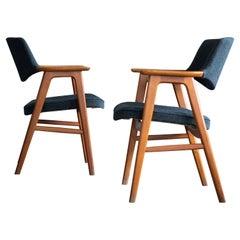 Erik Kirkegaard for Høng Pair of Desk or Side Chairs in Teak and Leather, 1960s