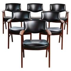 Set of Six Danish Erik Kirkegaard Teak Dining Chairs in Original Black Vinyl