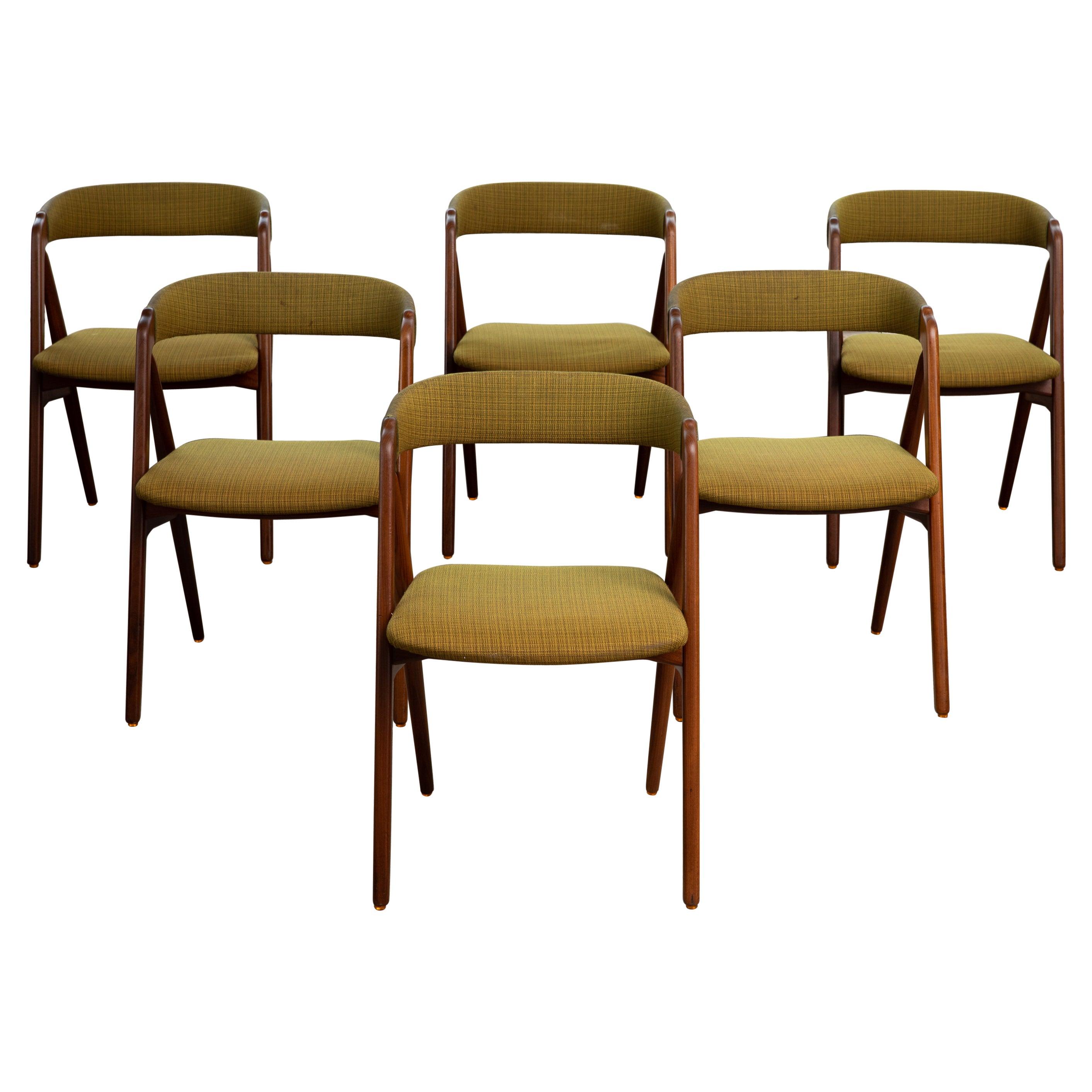Set of Six Kai Kristiansen Teak A-Frame Dining Chairs in Teak 1950's Denmark