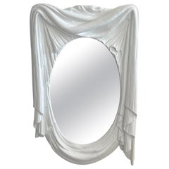 Modern White Lacquered Carved Wood Draped Mirror