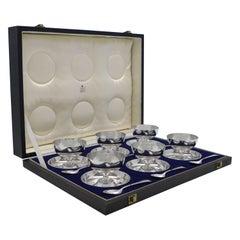 Art Deco Sterling Silver Set of Grapefruit Bowls & Spoons, Walker & Hall 1927