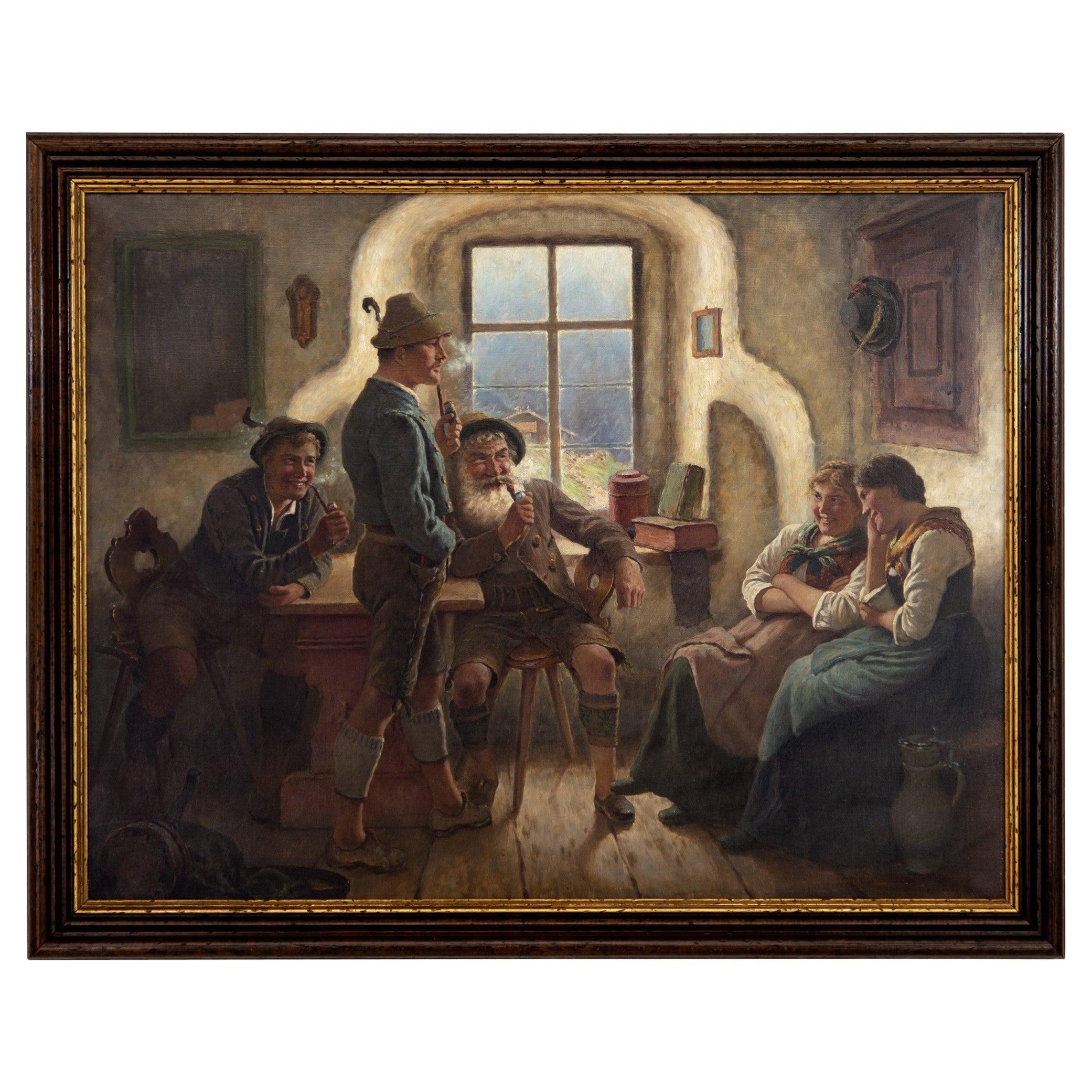 M. Wachsmuth 1890s Oil Painting German Bavarian Tavern Scene Lederhosen & Dirndl