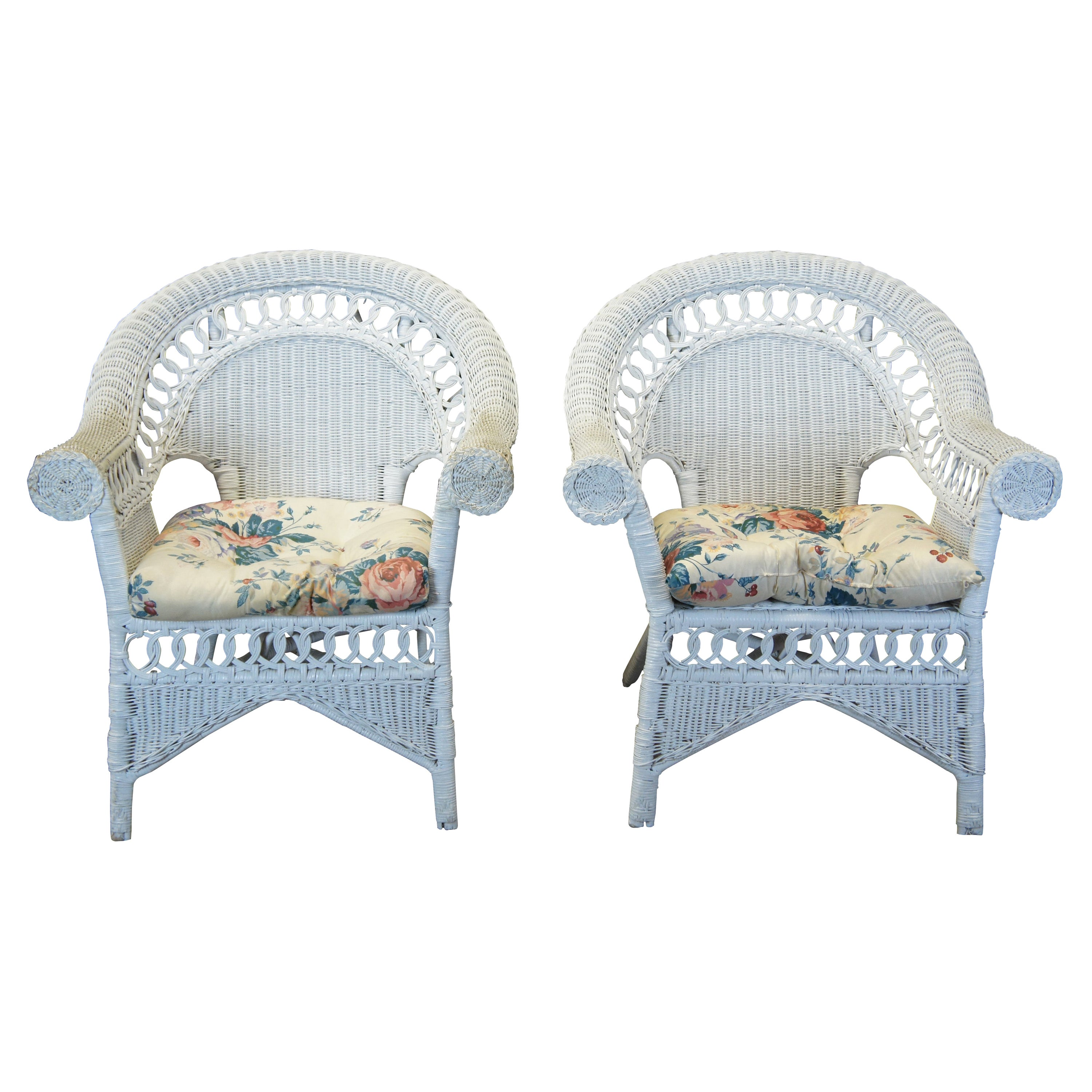 2 Vintage Wicker Bamboo Rattan Rolled Club Arm Chairs White Painted Boho Chic