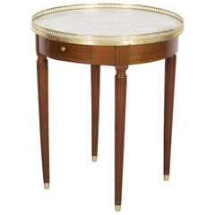 Antique French Louis XVI Style Mahogany Bouillotte Side Table with Marble Top