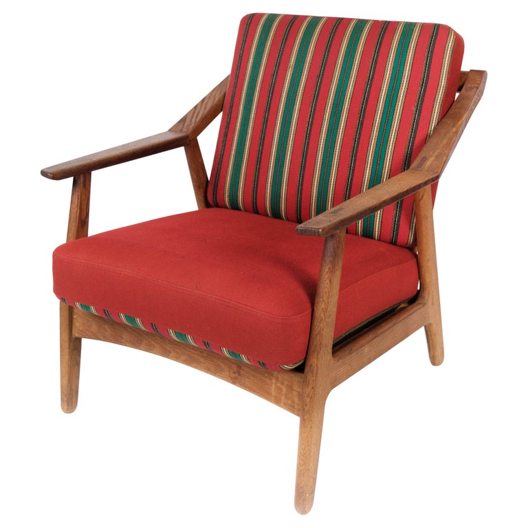 Armchair in Oak and Upholstered with Red Fabric, by H. Brockmann Petersen, 1960s For Sale