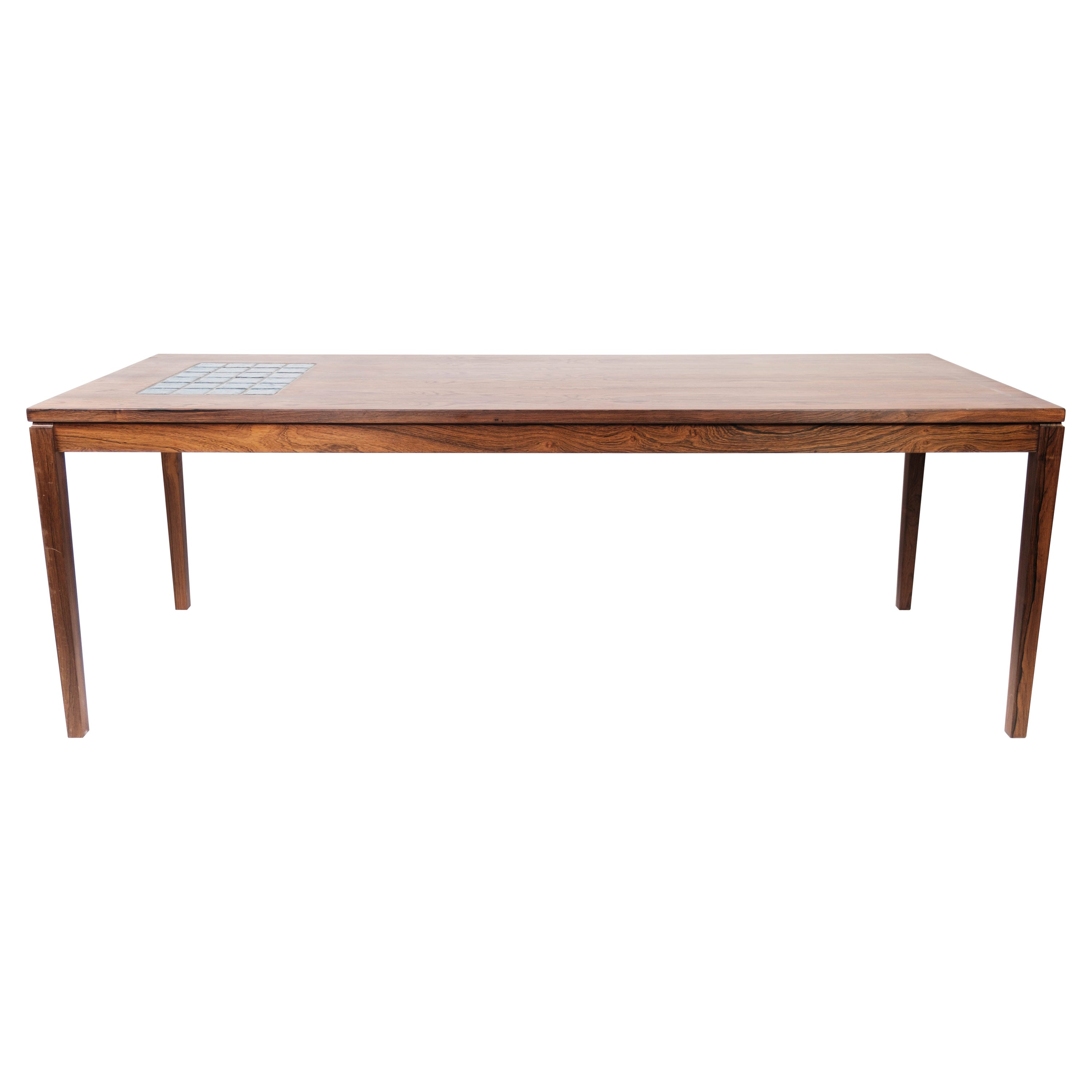 Coffee Table in Rosewood with Blue Tiles of Danish Design from the 1960s