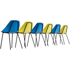 Pierre Guariche for Meurop Set of Six 'Coquillage' Dining Chairs
