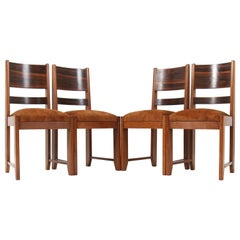 Four Oak Art Deco Haagse School Dining Room Chairs, 1920s
