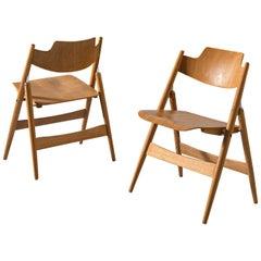 Egon Eiermann for Wilde & Spieth Folding Chairs 'SE 18' in Beech