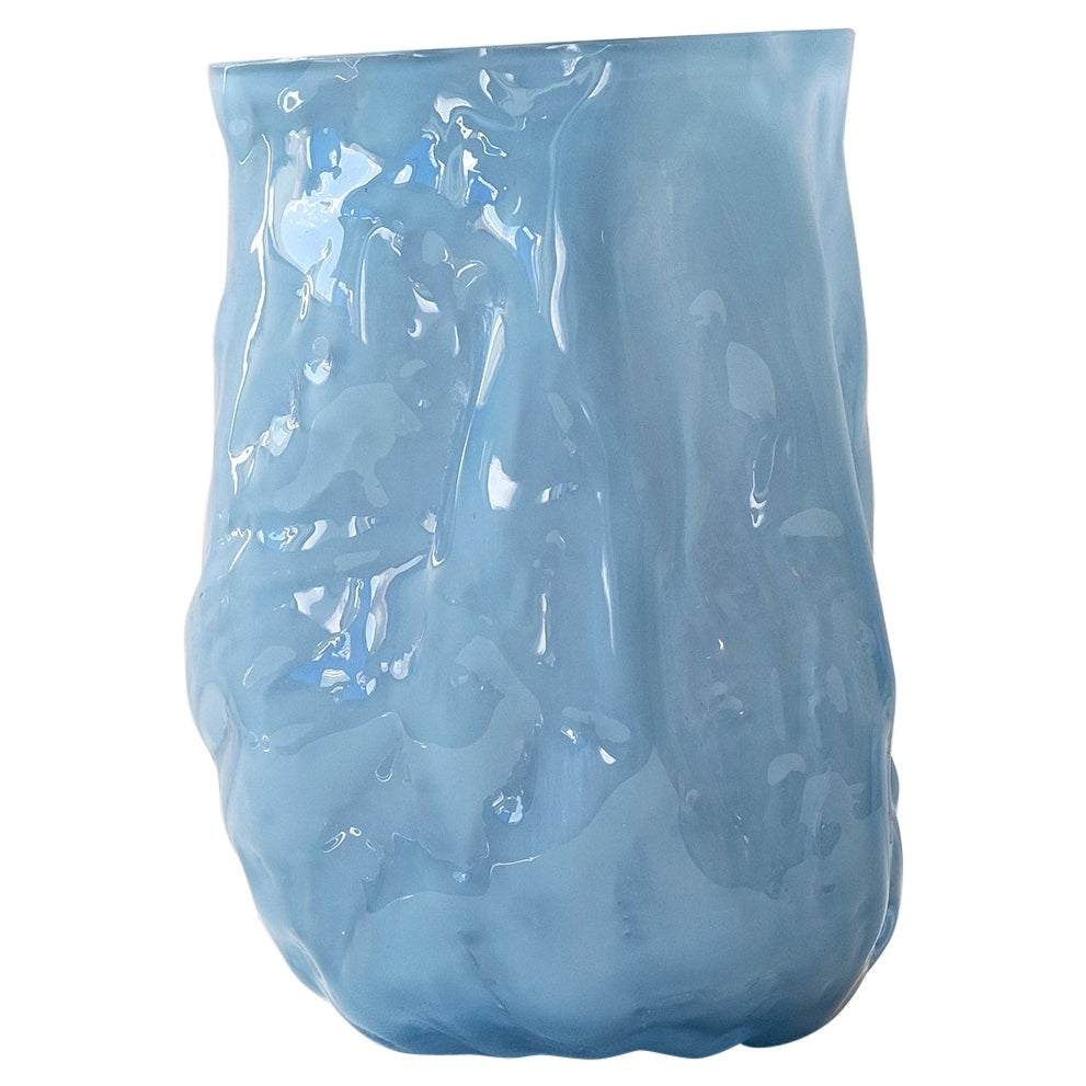 Hand Blown Contemporary Small Wrinkle Blue Glass Vase by Erik Olovsson