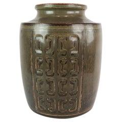 Stoneware Vase with Dark Glaze, No. 231 by Bing and Groendahl