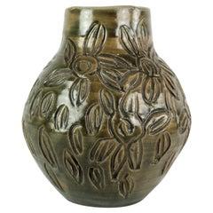 Ceramic Vase with Dark Glaze of Unknown Danish Artist, 1960s