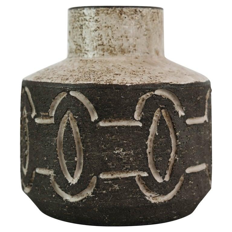 Ceramic Vase in Dark Nuances by Loevemose Ceramics from the 1960s For Sale