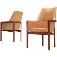 Bernt Peterson for Søborg Møbelfabrik Pair of Dining Chairs in Leather