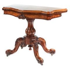Antique Victorian Burr Walnut Card Table