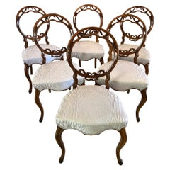 Antique 19th Century Set of Six Victorian Walnut Dining Chairs