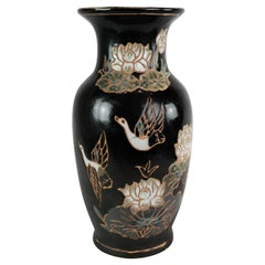 Ceramic Vase with Black Glaze and Decorated with Flowers