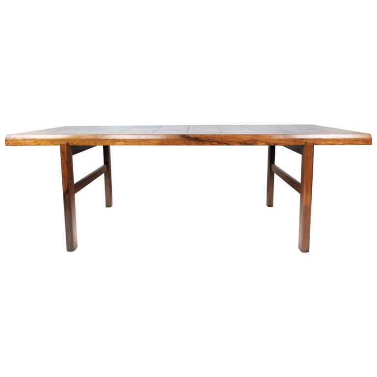 Coffee Table in Rosewood with Blue Tiles of Danish Design by Arrebo, 1960s For Sale