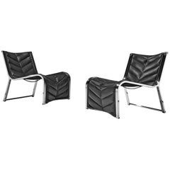 Rossi di Albizzate Lounge Chairs in Leather and Chrome
