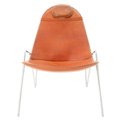 Easy Chair, with Belted Vegetable Tanned Cowhide Sling on Stainless Steel