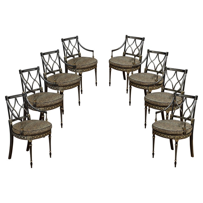 Set of Eight Regency Style Dining Chairs For Sale
