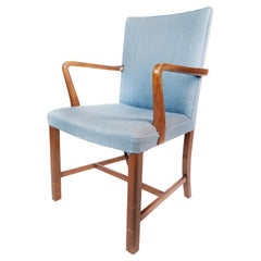 Armchair in Mahogany and Upholstered with Light Blue Fabric by Fritz Hansen