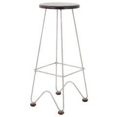 Fish Stool Features a Hand Bent Stainless Steel Frame and Solid Wood Seat