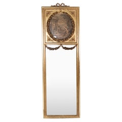 Tall Mirror of Gilded Wood and Decorated with Engraving from the 1820s