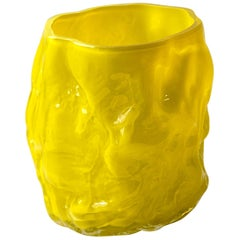 Hand Blown Contemporary Wrinkle Neon Yellow Glass Vase by Erik Olovsson