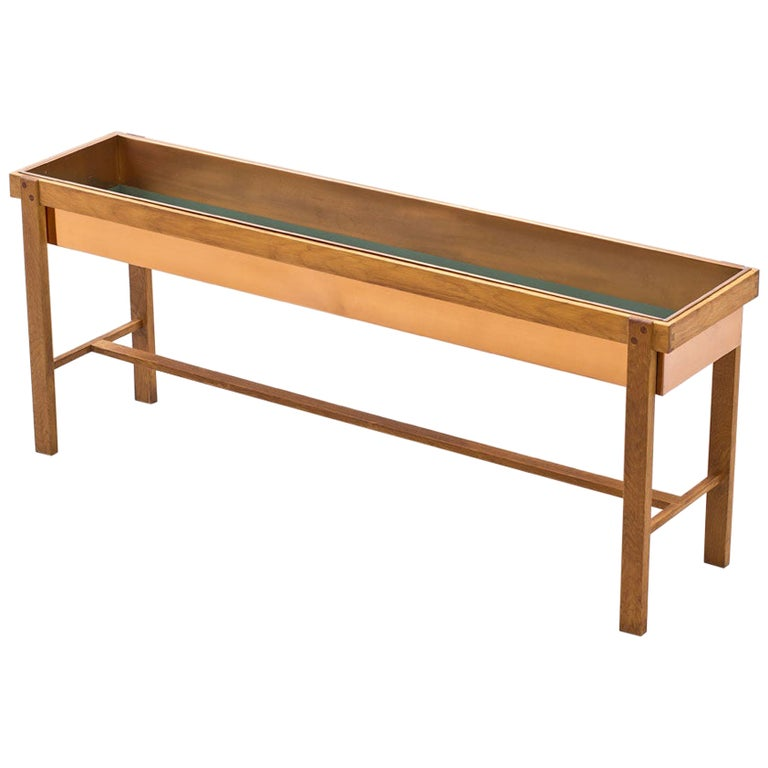 1950s Oak & Copper Flower Table, Sweden For Sale