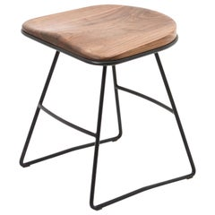 Pug Occasional Stool, Solid Shaped Walnut Seat in Hand Bent Steel Frame
