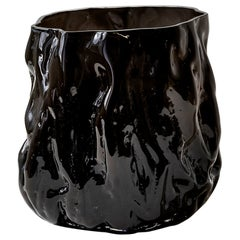 Hand Blown Contemporary Wrinkle Black Glass Vase by Erik Olovsson