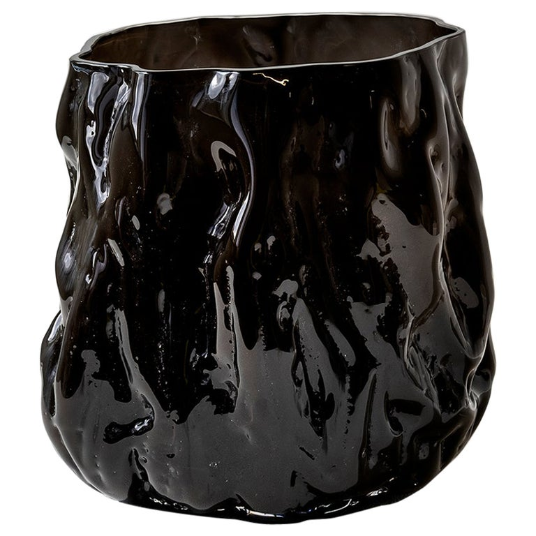 Hand Blown Contemporary Wrinkle Black Glass Vase by Erik Olovsson For Sale