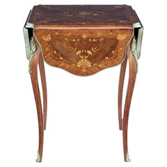 19th Century Walnut Inlaid Envelope Drop Leaf Occasional Table