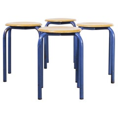 1960's Simple French Stacking School Stools, Blue, Set of Four