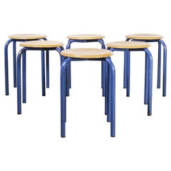 1960's Simple French Stacking School Stools, Blue, Set of Six