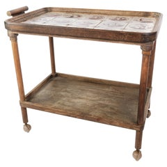 Tray Table Dark Wood Decorated with Dutch Tiles, 1920s