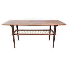 Coffee Table in Teak with Papercord Shelf of Danish Design from the 1960s