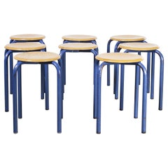 1960's Simple French Stacking School Stools, Blue, Set of Eight