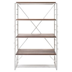 Wired Shelf, Solid Freestanding Display and Storage, in Stainless Steel, Walnut
