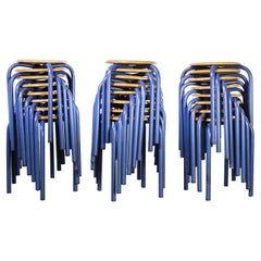 1960's Simple French Stacking School Stools, Blue, Set of Twenty Four
