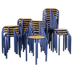 1960's Simple French Stacking School Stools, Blue, Various Qty Available