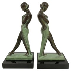 Art Deco Style Lady Bookends Meditation by Pierre Le Faguays for Max Le Verrier
