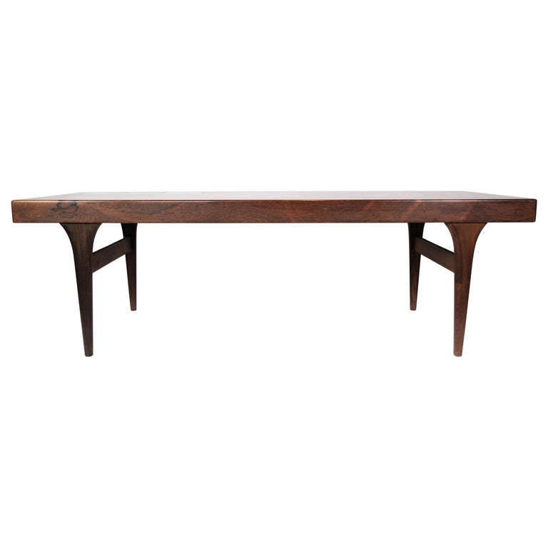 Coffee Table in Rosewood with Blue Tiles by Johannes Andersen, 1960s For Sale