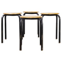 1960's Simple French Stacking School Stools, Black, Set of Four