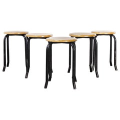 1960's Simple French Stacking School Stools, Black, Set of Five Kick Leg